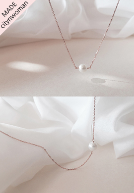 rose gold pearl_ necklace